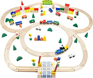 Conductor Carl TCON-201 100-Piece Train Track Town Starter Set Bulk Value Wooden Set with 34 Track Pieces, 12 Cars & Train...