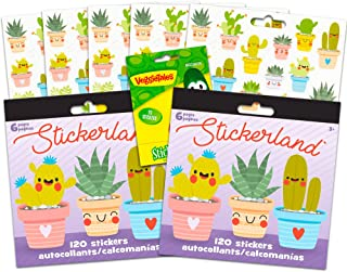Cactus Plants Stickers Party Pack -- Bundle Includes 240 Plants Stickers with Bonus VeggieTales Stickers (12 Sticker Sheets, Cacti Party Supplies)
