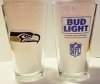 Seattle Seahawks - Bud Light Pint Glasses   Beer Pints Set of 2