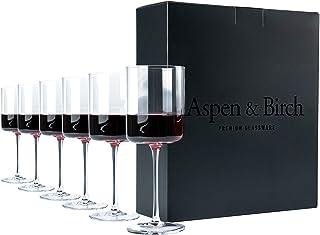 Aspen & Birch - Modern Wine Gl Set of 6 - Red Wine Gl or White Wine Gl, 100% Lead Free Crystal Stemware, Long Stem Wine Gl...