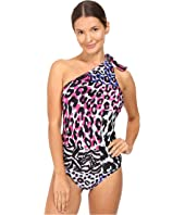 Versace - One Shoulder One-Piece Animalier Bikini