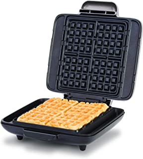 Dash DNMWM455SL Deluxe No-Drip Belgian Iron 1200W Maker Machine For Waffles, Hash Browns, or Any Breakfast, Lunch, & Snacks with Easy Clean, Non-Stick + Mess Free Sides, Silver