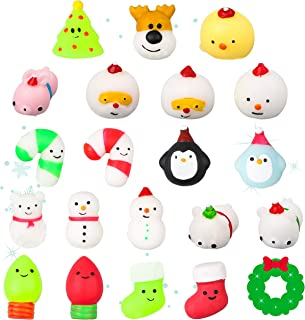 WATINC 20Pcs Christmas Mochi Squishies, Kawaii Animal Squeeze Squishies for Kids, Stress Relief Toys, Soft Jelly Mochi for Xmas Party Favors, Christmas Eve Surprise, Include Snowman, Cute Santa Decor