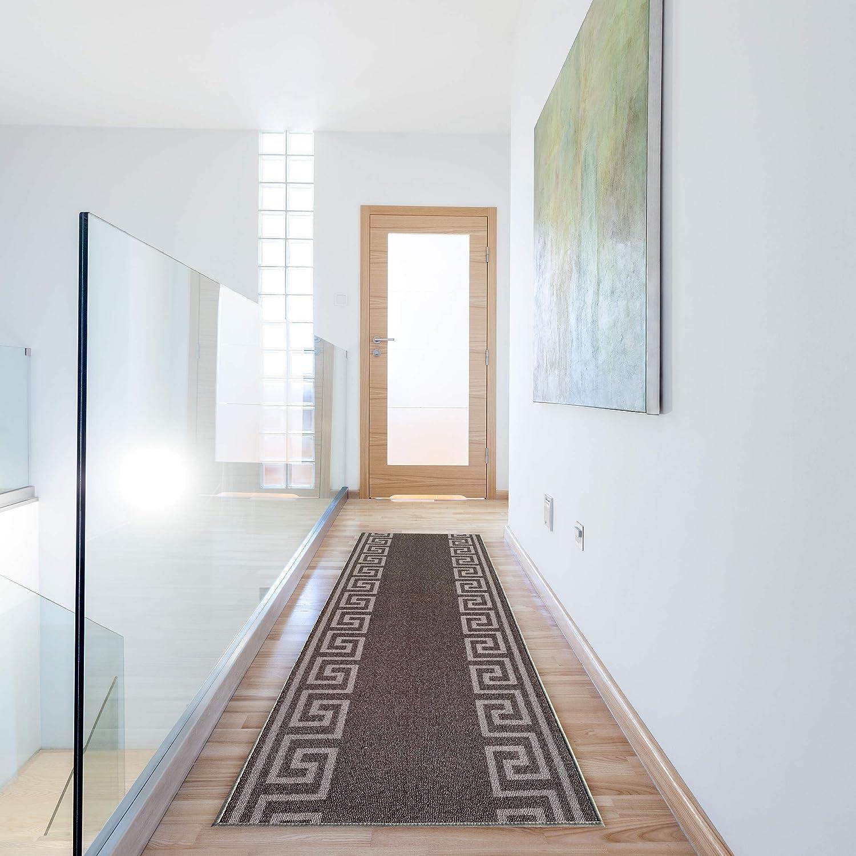●手数料無料!! Runner Rug for Hallway Greek Geometric Dark Bordered Design Key 春の新作続々