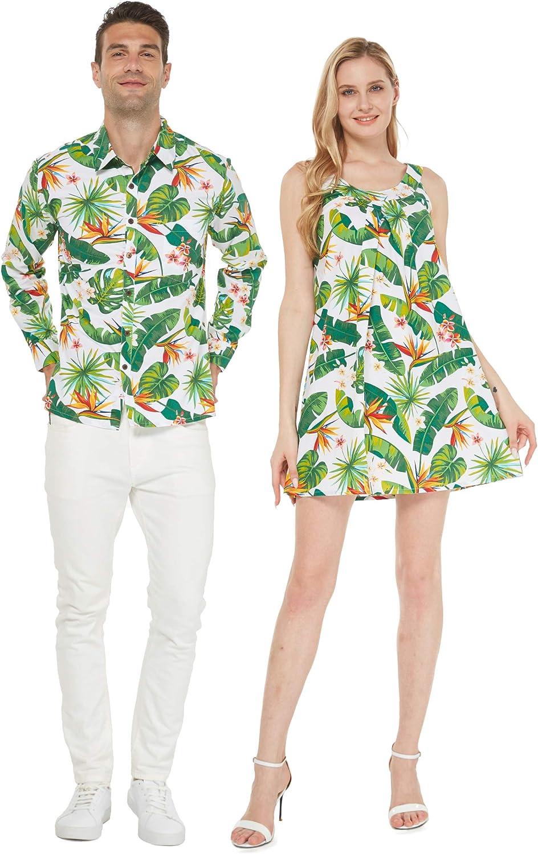 Couple Matching Luau Aloha Long Sleeve Bi Dress Lowest price challenge Round Neck Excellence Shirt