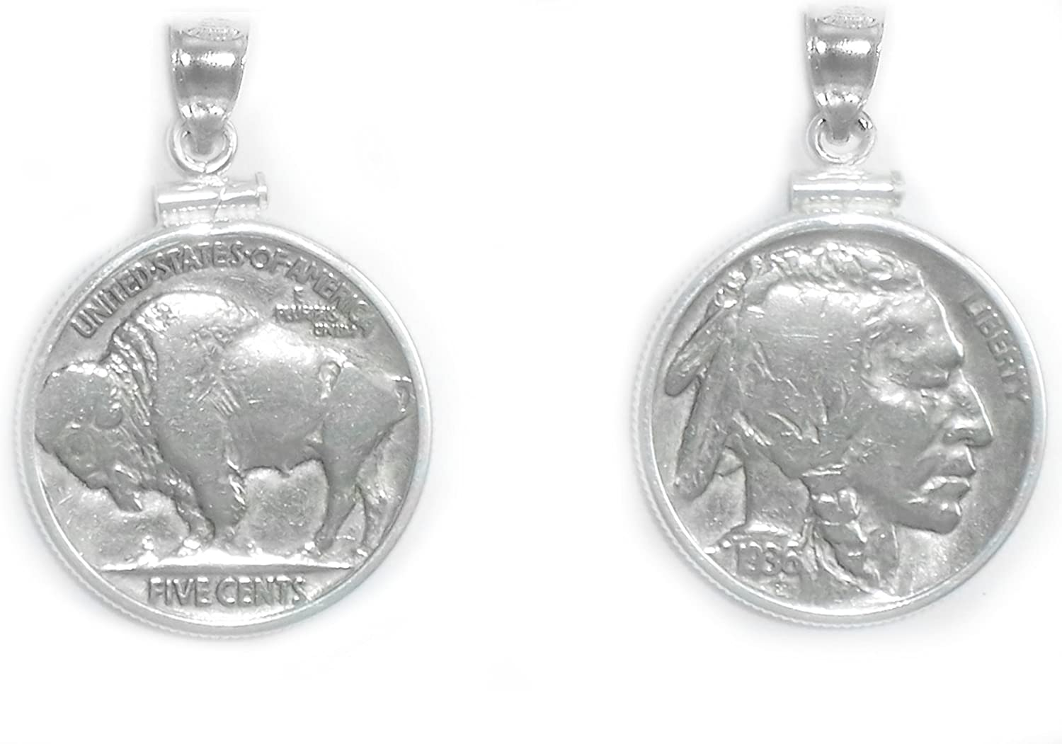 Flintski Jewelry Buffalo Indian Max 44% OFF Head Nickel Coin Sterling Silver Recommended