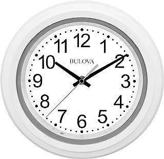 Bulova Relógio de parede C4865 com mostrador iluminado, 25,4 cm, branco
