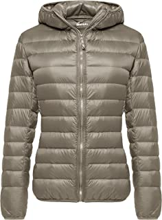 Wantdo Women's Down Coat Outdoor Hooded Lightweight Short Down Jacket