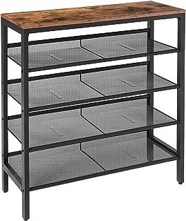 HOOBRO Shoe Rack, 5-Tier Shoe Storage Unit Flat & Slant Adjustable Shoe Organizer Shelf for 16 Pairs, Durable and Stable, ...