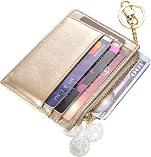 Womens Slim RFID Credit Card Holder Mini Front Pocket Wallet Coin Purse Keychain - Gold - Small
