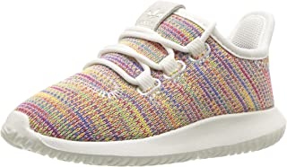 adidas Originals Unisex Tubular Shadow Running Shoe, White Blue, 1 M US Little Kid