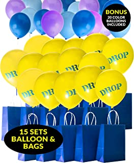 Game Theme Birthday Party Paper Gift Bags with Balloons, Battle Royal 15 Sets Drop Bags, 20 Color Balloons, String Included, Toy Kids Story Boys Teens Decorations - by TOKYO SATURDAY (Drop Bag
