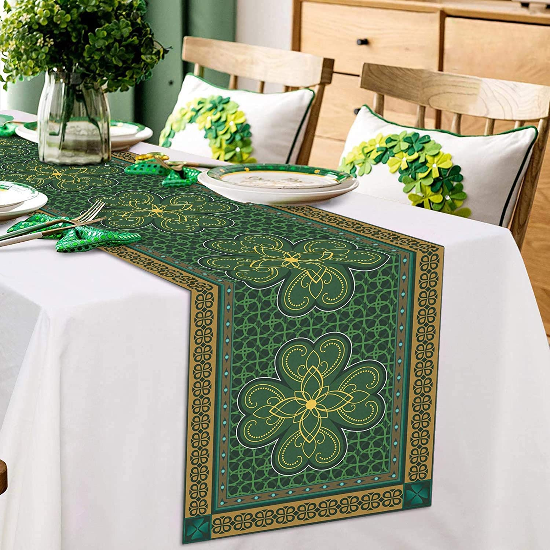 ARTSHOWING St. Patrick's Day Table Runner Party Supplies Fabric Decorations for Wedding Birthday Baby Shower 13x90inch Traditional Shamrock Irish Decor Retro Geometric