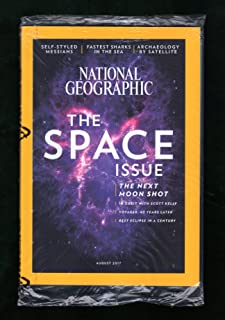 National Geographic - August, 2017. Space Issue. Moon Shot; In Orbit; Voyager; Best Eclipse; Satellite Archaeology; Self-Styled Messiahs; Solar Probe; Fast Shark; Moon Museum; Kenyan Elephants