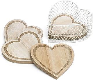 Juego de posavasos de madera con forma de corazón grabados y portavasos para vino
