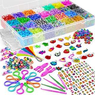 11,900+ Rubber Band Bracelet Refill Kit - 11000 Premium Loom Bands, 600 S-Clips, 200 Beads, 30 Charms, 52 ABC Beads, 10 Ba...
