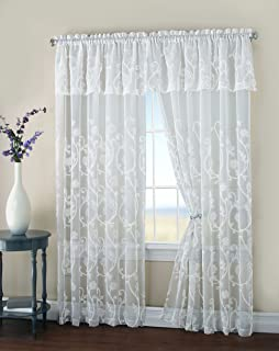 HLC.ME Malta Floral Embroidery Matte Sheer with Attached Valance Window Curtain Panel - 84