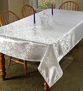 "Violet Linen Oblong/Rectangle Tablecloth, White, 52"" x 70"""