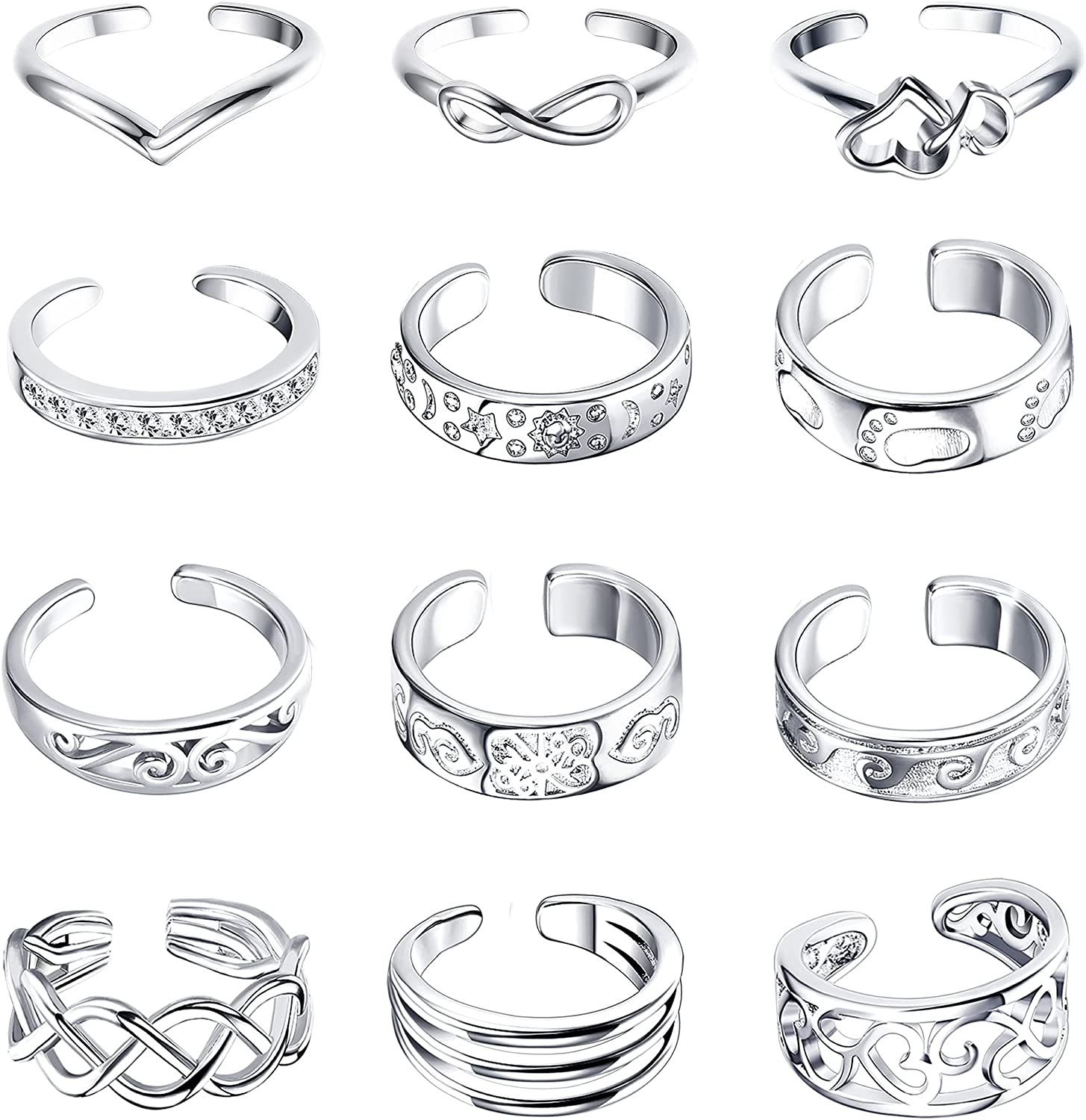 LOYALLOOK 12PCS Adjustable Toe Rings for Women Summer Beach Open Toe Rings Set Barefoot Pinky Tail Ring Hollow Flower Heart Sun Star Band Foot Ring