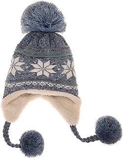 Dosoni Women Girl Winter Hats Knit Soft Warm Earflap Hood Cozy Large Snowflake Beani