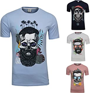 JACK & JONES Men's Festival Support T-Shirt Crew Neck with Flower Beard Skull Hipster Skull Print
