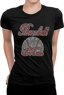 Baseball Rhinestones Bling T-Shirts, Baseball Mom Bling Shirt, Black Color