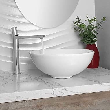STYLISH Round Bathroom Over The Counter Sinks | Fine Porcelain Round Vessel Sink with Enamel Glaze Finish, Smooth & Stain