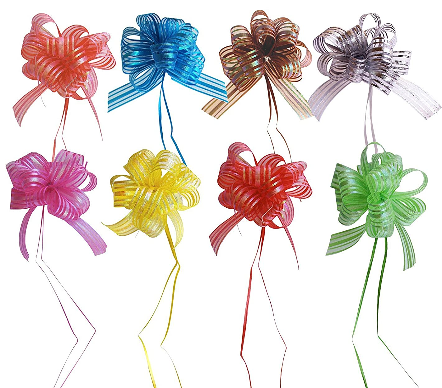 EOM Set of 8 Wedding Pull Bow Organza Striped Ribbon String with 35