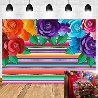 Mexican Fiesta Themed Photography Backdrop for Dress-up Baby Shower Supplies Vinyl Colorful Flower Stripe Cinco De Mayo Fe...