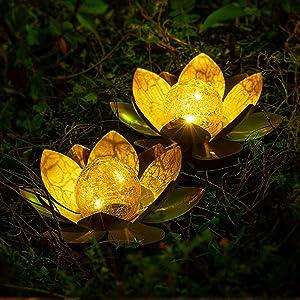 AIINY Outdoor Solar Light, Golden Lotus for Garden Decoration, Solar Amber Cracked Glass Ball Light for Terrace, Lawn, Sidewalk, Tabletop, Ground Decoration