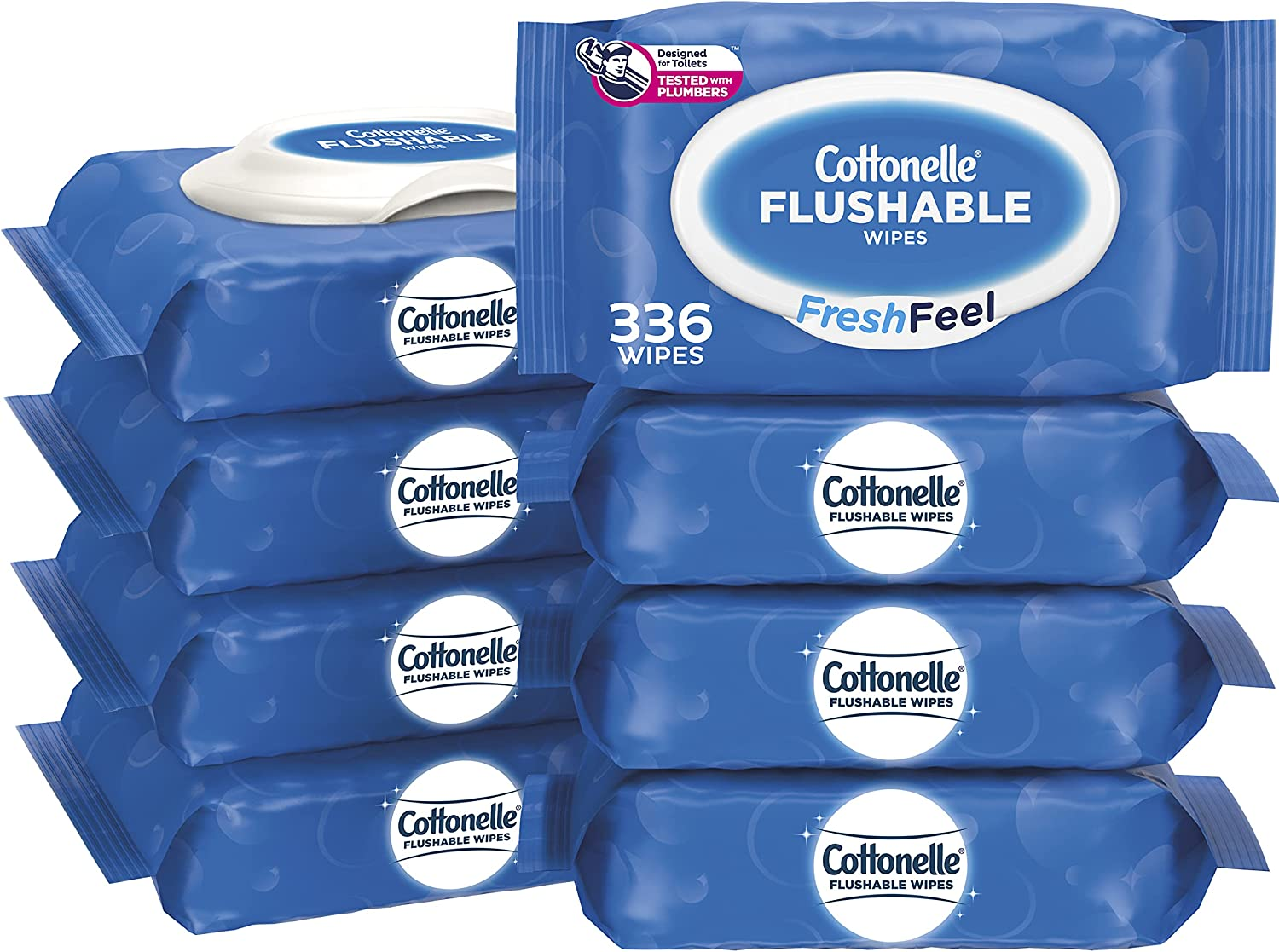 Cottonelle FreshFeel Flushable Wet Wipes for Adults and Kids, 8 Flip-Top Packs, 42 Wipes per Pack (336 Wipes Total): Health & Personal Care