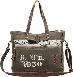 Myra Bag 1930 Classic Upcycled Canvas & Leather Messenger Bag S-1535