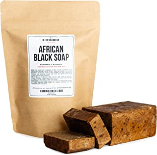 African Black Soap - Use as a Body and Face Wash - Melt the Bar to Make Liquid Soap or Shampoo - Contains Moisturizing Unr...
