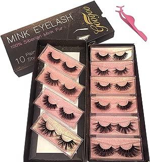 Googoo 5D and 3D Mink Eyelashes 100% Real Siberian Natural False Eyelashes Luxury Reusable Handmade Mink Fur Eyelashes 10 Pairs Multipack 16mm to 25mm 3D Mink Fur False Eyelashes