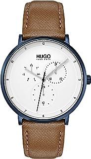 ساعة بمينا ابيض وسوار جلد بني للرجال من هوغو بوس - 1530008