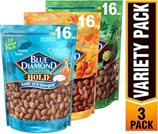 Blue Diamond Almonds Bold Favorites Variety Pack - Salt 'n Vinegar, Habanero BBQ, & Wasabi & Soy Sauce, Bold Variety Pack,...