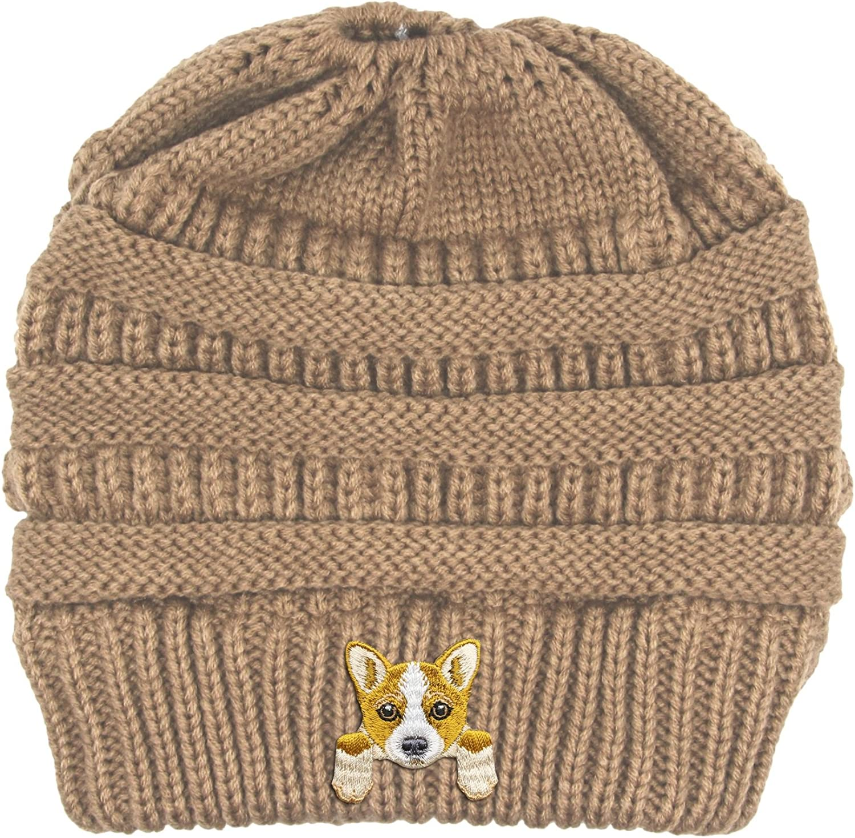 Lhotse Welsh Corgi Embroidered Puppy Dog Series Beanie  Stretch Fleece Cable Knit High Bun Ponytail Skullies Hat Cap  Beige