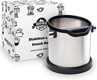 Espresso knock box and coffee grind dump container. Stainless steel. Large shock-absorbent knock bar for easy coffee ground disposal. Silicone cover to protect the filter and kitchen