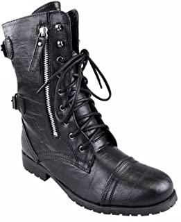 fc15a15aff90 WOMENS LADIES ARMY COMBAT LACE UP ZIP GRUNGE MILITARY BIKER TRENCH PUNK  GOTH ANKLE BOOTS SHOES