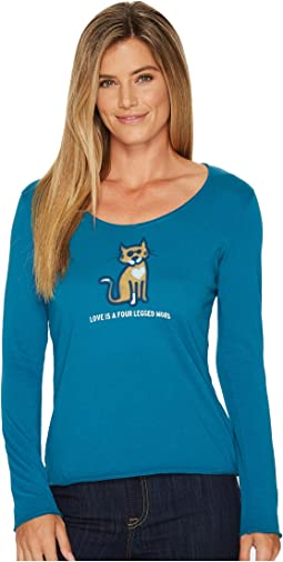Life is Good - Four Legged Word Long Sleeve Smooth Tee
