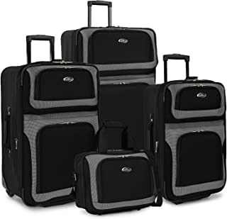 U.S. Traveler New Yorker 4-Piece Luggage Set in Black