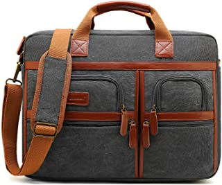CoolBELL 17.3 Inches Laptop Messenger Bag Protective Shoulder Bag Canvas Business Briefcase Multi-Functional Computer Case for Men/Women/College/Office (Canvas Dark Grey)