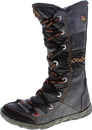 TMA Leder Stiefel Damen Winter Schuhe gefüttert Schwarz Weiß Grün Gelb Rot Braun Blau im Used Look