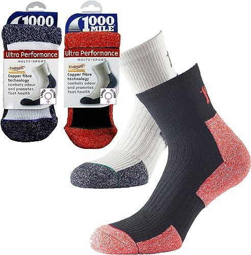 1000 Mile Damen Socken Weiß Small UK3-5.5