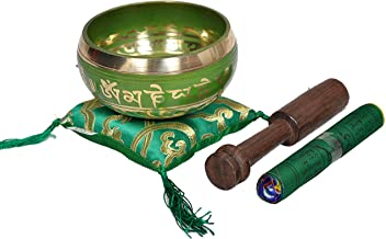 Tibetan Singing Bowl Set By Dharma Store - With Traditional Design Tibetan Buddhist Prayer Flag - Handmade in Nepal (Green)