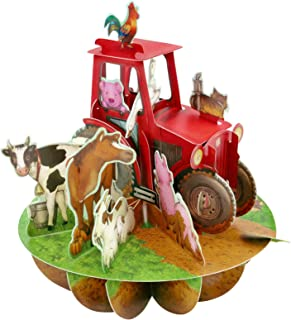 Santoro 3D Pirouette Greeting Card - Tractor and Farm Animals