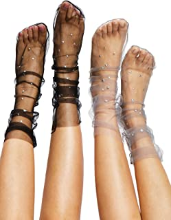 DIDK Women's Star Decorated Mesh Slouch Socks 2 Pairs
