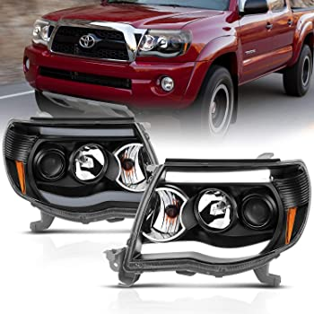 AmeriLite 2005-2011 for Toyota Tacoma Dual LED Tube Black Projector Headlights Assembly Replacement Pair - Driver and Passenger Side