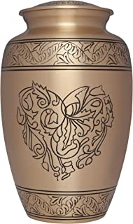 Liliane Memorials Corose-L Brass Funeral Cremation Urn with Engraved Heart Made of Flowers, Large/200 lb, Gold
