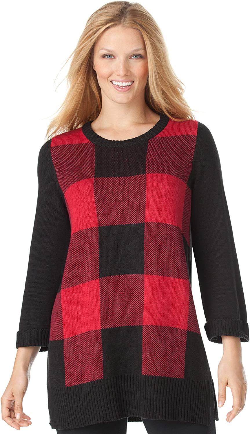 Woman Within Women's Plus Size Buffalo Plaid Pullover Sweater